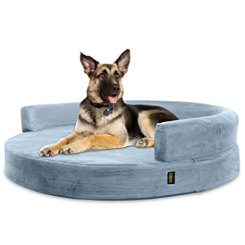 KOPEKS Sofa Redondo Cama Gris para Perro Perros Mascotas Extra Grande XL con Memoria Viscoelástica Colchón Ortopédico 127 cm Diámetro - Round Lounge XL ...