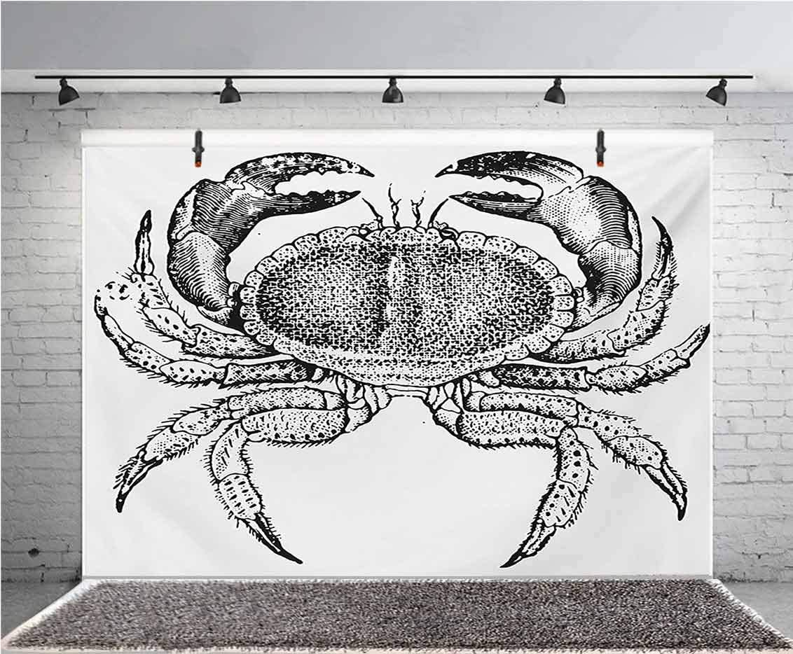 8x12 FT Crabs Vinyl Photography Backdrop,Sea Animals Theme a Cooked Dungeness Crab with National Marks Digital Image Print Background for Party Home Decor Outdoorsy Theme Shoot Props