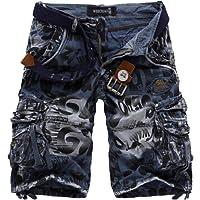 WSLCN Homme Militaire Cargo Shorts d'Eté Outdoor Camouflage Pantacourt Décontractée Bermudas Shorts de Sport Multi Poches (Sans Ceinture)