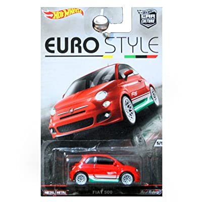 Hot Wheels Car Culture Euro Style Fiat 500 Red: Toys & Games