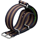 Geckota Nylon Watch Strap Vintage Bond NATO G10 Dark Blue/Red/Green Stripe in a Choice of Sizes