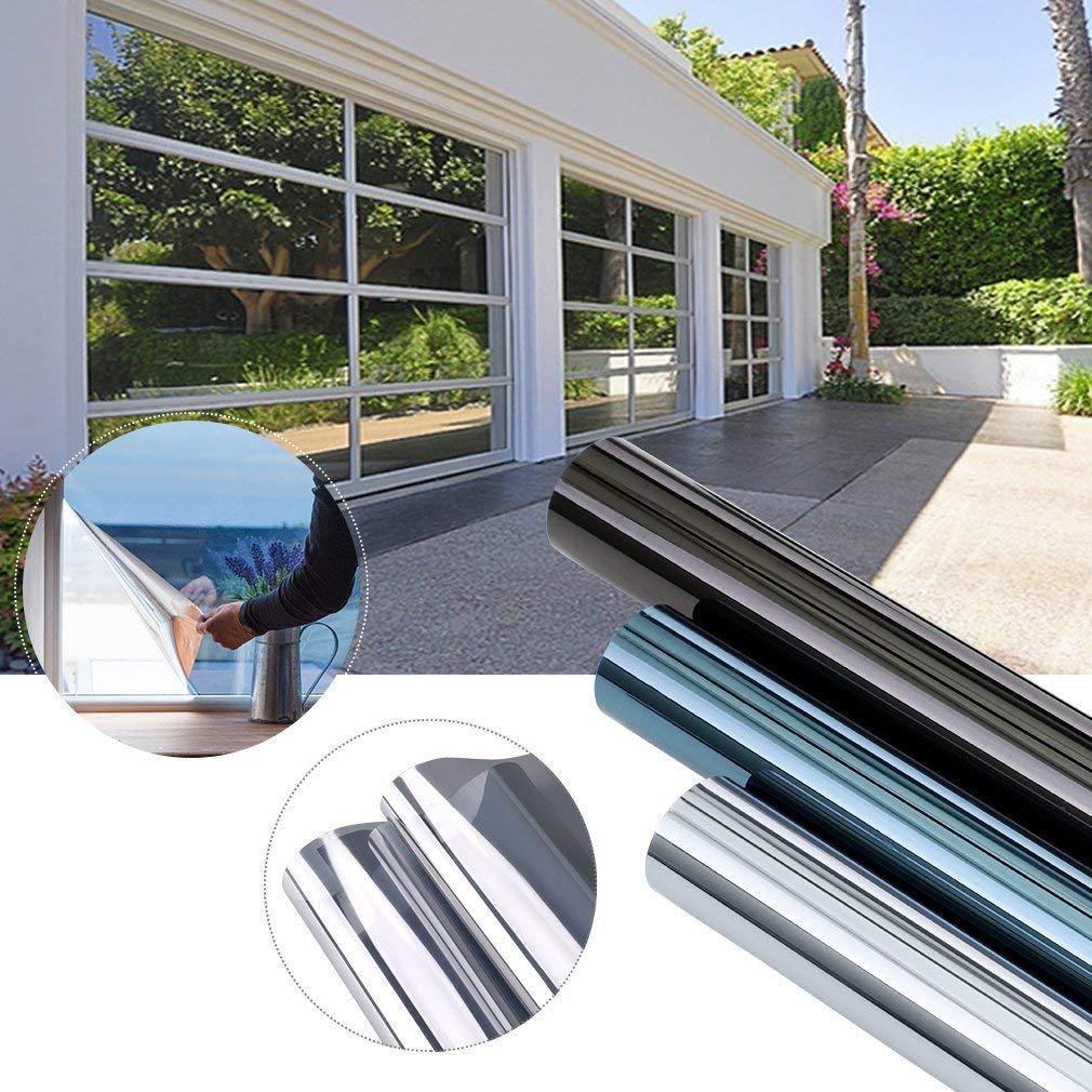 KINLO 10 Stk. 300 x 75cm Spiegelfolie sonnenschutzfolie Ohne Kleber für Fenster Sichtschutzfolie aus PVC 99% UV-Schutz Privatsphäre Glas Fensteraufkleber Fensterfolie (Silber)