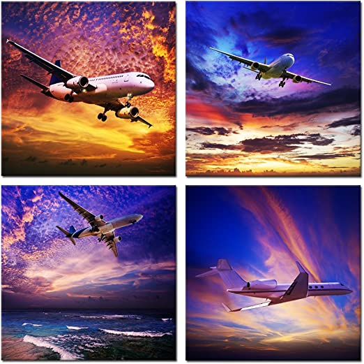 "16/""x24/""x3 Panels Canvas Art Wall Home Decor Fast Airplane in the Sky Wall26"