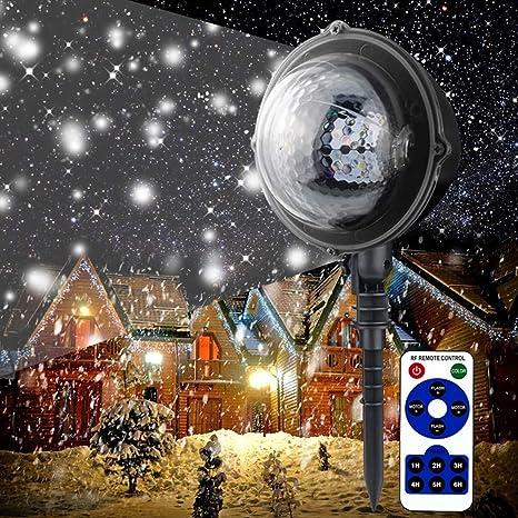 AOKARLIA Proyector de luz de Copo de Nieve Proyector Navidad LED ...
