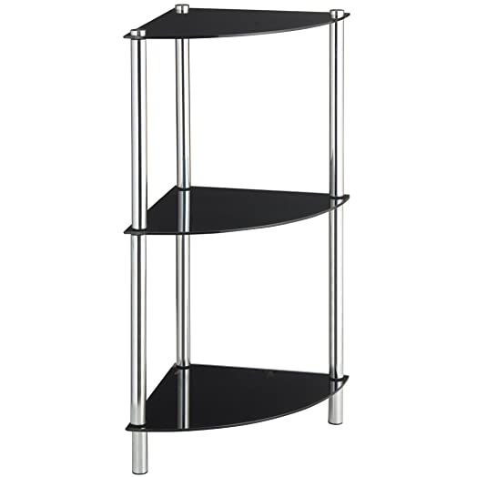 VonHaus Corner Table For Living Room | Small 3 Tier Unit With Glass Shelves  U0026 Modern Part 77