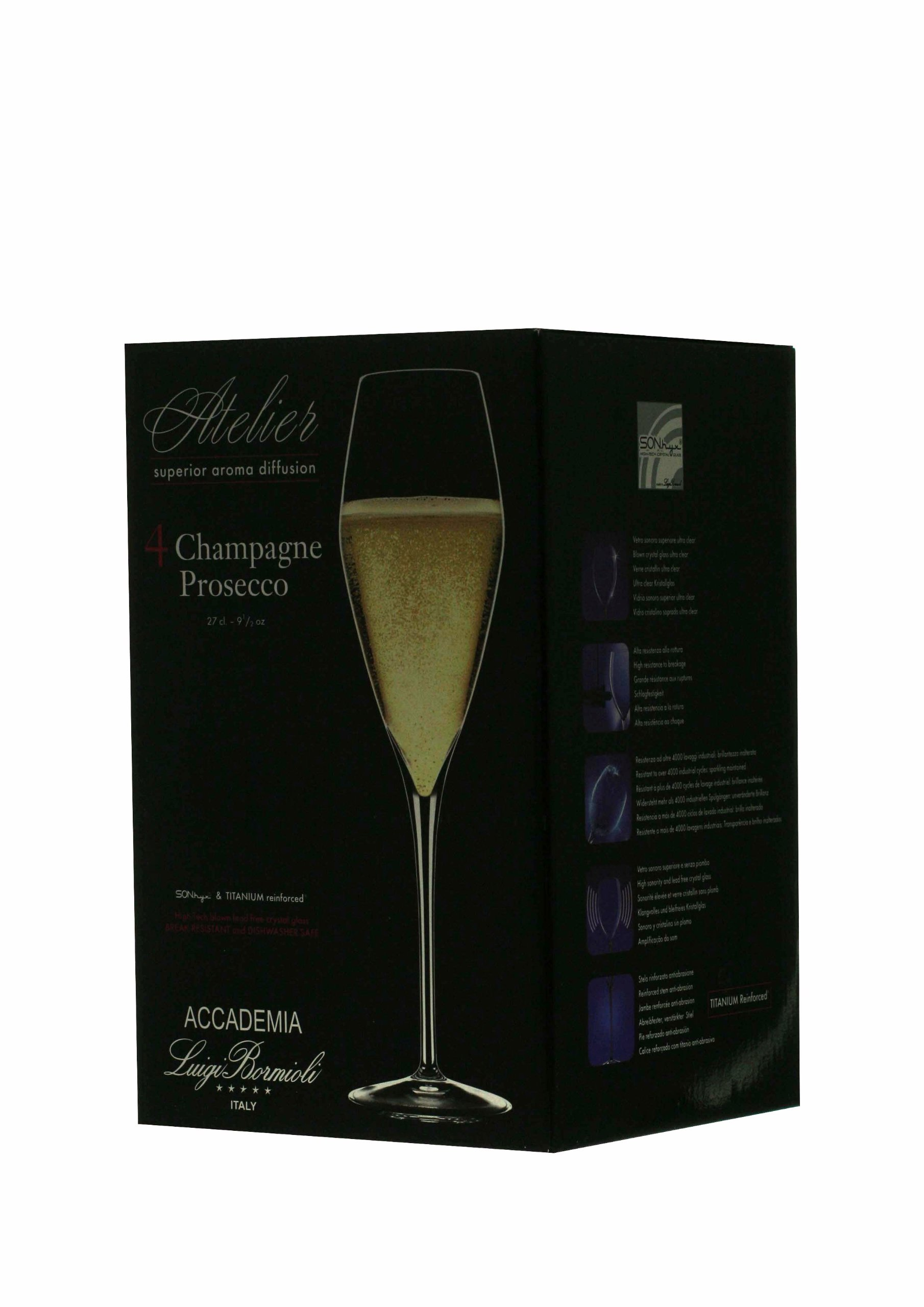 Luigi Bormioli Prestige Champagne/Flute Glasses, 10 oz., Set of 4