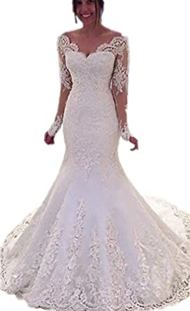 f3eba017114 APXPF Women s Mermaid Lace Wedding Dresses with Appliques Beadings Long  Sleeves Backless Bridal Gowns Ivory US2