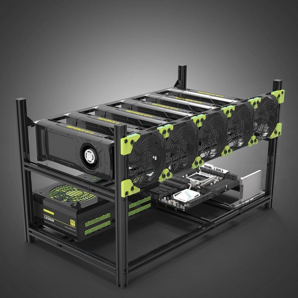 6 GPU Miner Mining Rig Aluminium stapelbar Open Air Bergbau Fall ...
