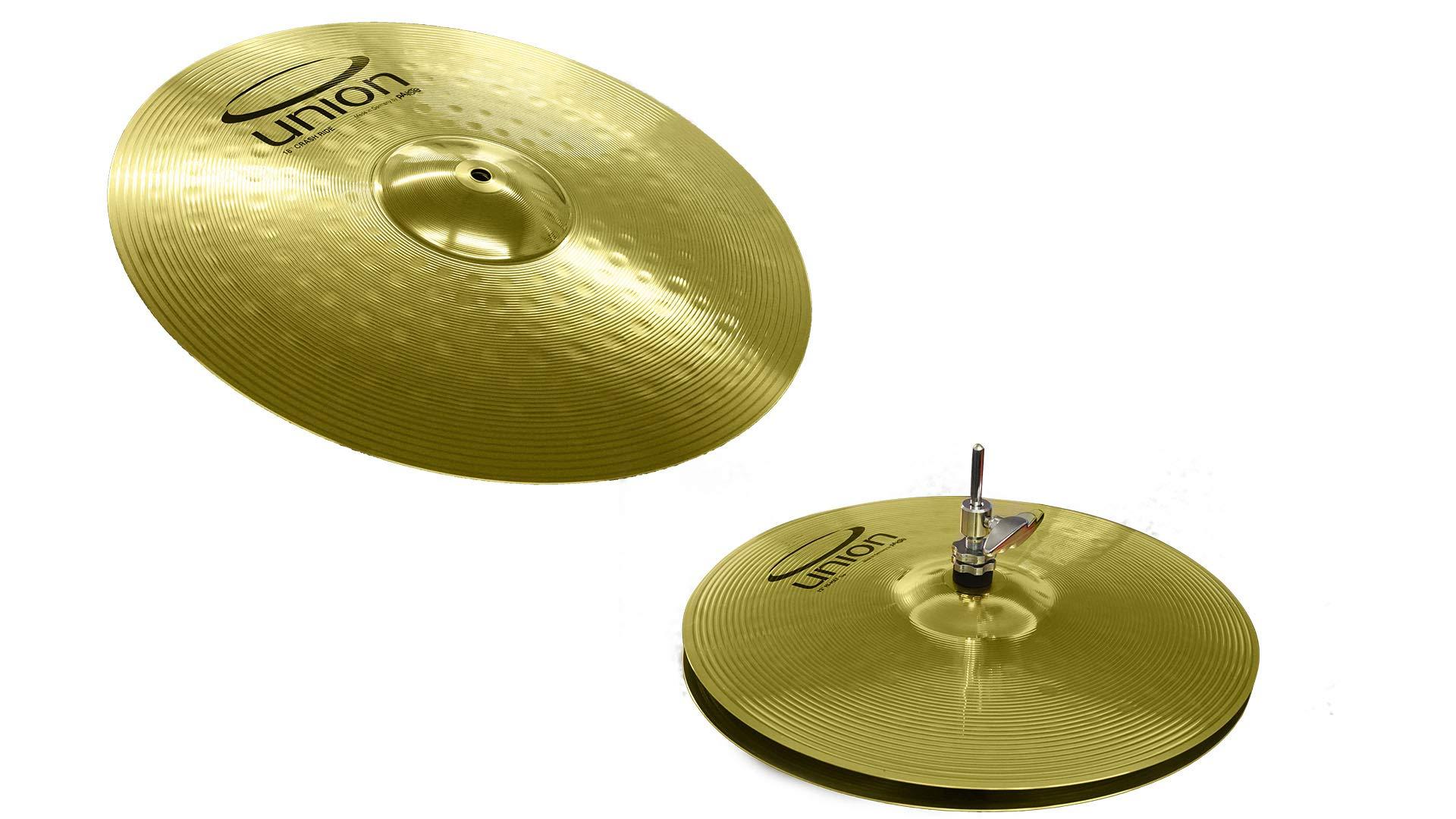 Union by Paiste 3-Piece Brass Cymbal Set 13 inch Hi-Hats/18 inch Crash-Ride OEMBM1KP by Union