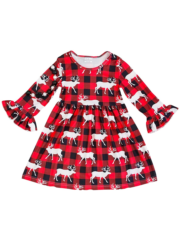 Amazon.com Little Girl Quarter Sleeves Deer Mix Checker