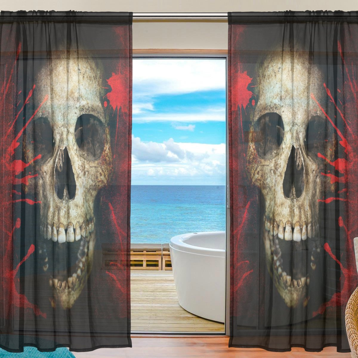 SEULIFE Window Sheer Curtain, Vintage Bloody Skull Halloween Voile Curtain Drapes for Door Kitchen Living Room Bedroom 55x78 inches 2 Panels