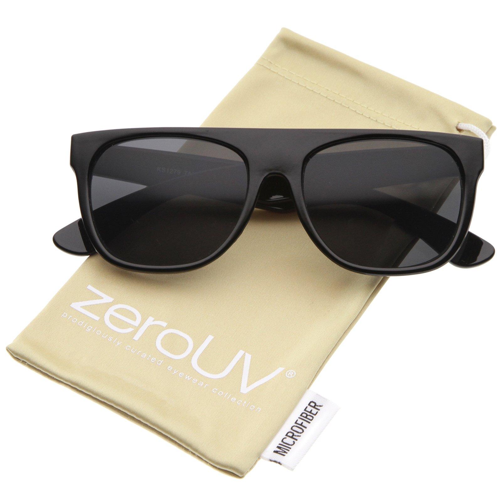 Modern Super Flat-Top Wide Temple Horn Rimmed Sunglasses 55mm (Shiny Black/Smoke)