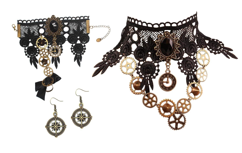 Vintage Style Jewelry, Retro Jewelry MEiySH Black Lace Gothic Lolita Pendant Choker Necklace Earrings Set $16.99 AT vintagedancer.com