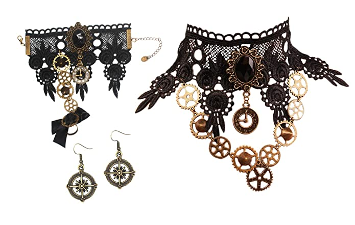 Steampunk Accessories | Goggles, Gears, Glasses, Guns, Mask MEiySH Black Lace Gothic Lolita Pendant Choker Necklace Earrings Set $17.99 AT vintagedancer.com