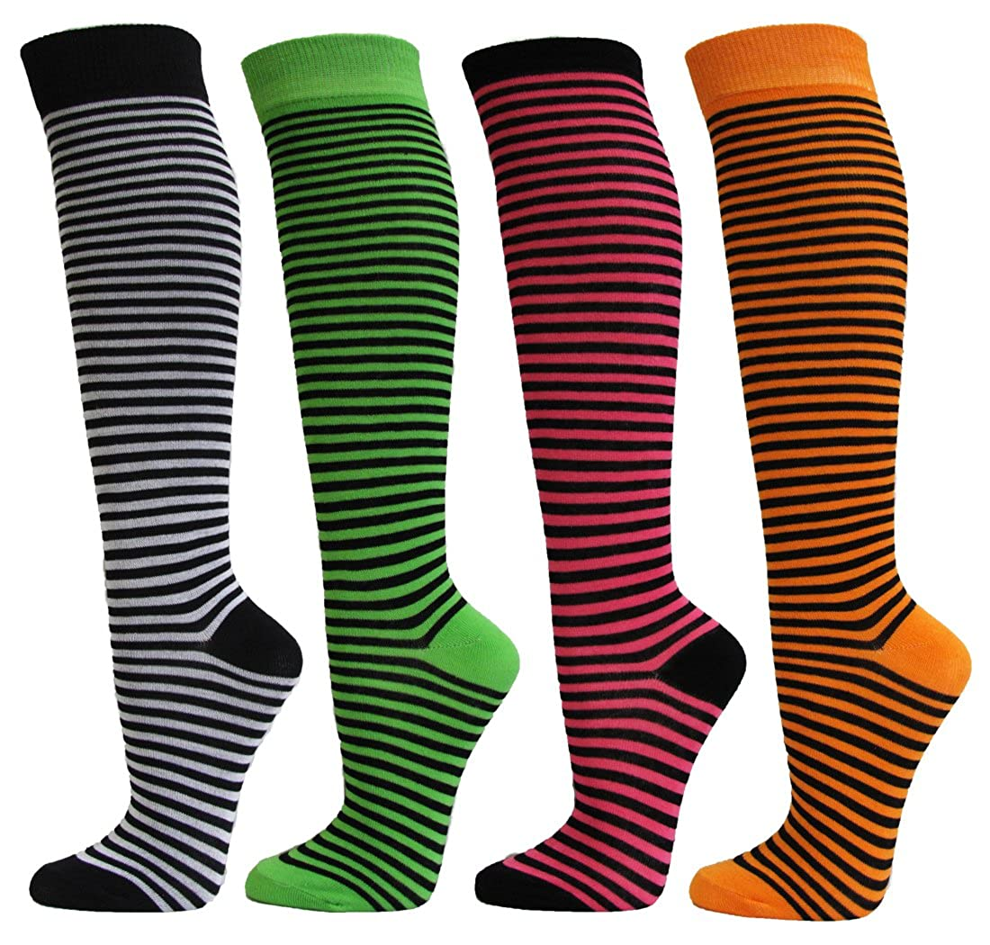 Couver Womens Colorful /& Fun Striped Cotton Knee High Socks Assorted 4 Packs