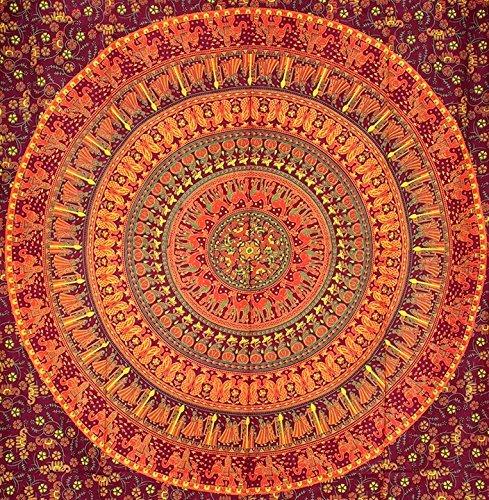 RSG Venture Mandala Tapestry Hippie Mandala Wall Hanging Tapestries Wall Tapestries Mandala Tapestries Tapestry Wall Hanging Ombre Mandala Boho Tapestries (Brown & Orange Camel Elephant, 84 X52 inch)
