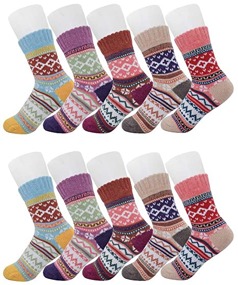 5 Pairs Winter Socks Vintage Style Chunky Knit Wool Cashmere Thick