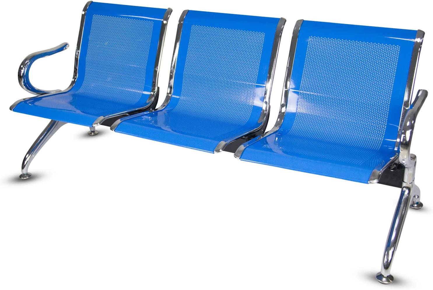 Peach Tree Airport Reception Waiting Room Chair Lobby Waiting Bench 3 Seat Bench Furniture Blue