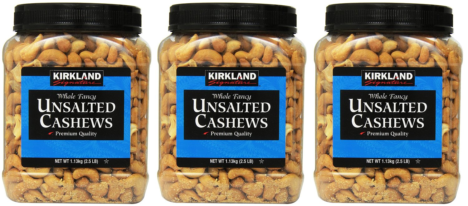 Kirkland Signature, Unsalted lSiil Cashews 2.5 Pound (Pack of 3) XHVMd
