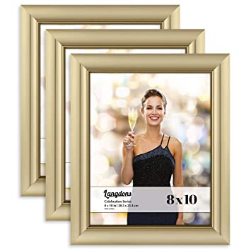 Amazoncom Langdons 8x10 Picture Frame 3 Pack Gold Gold Photo