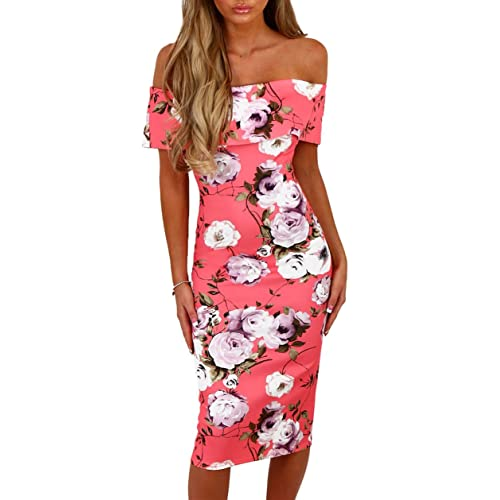 Happy Sailed Womens Cut Out Back Off Shoulder Floral Bardot Bodycon Midi Dress