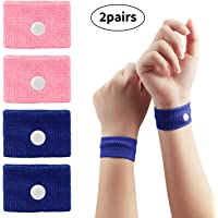 2 Pairs Sickness Bands, Motion Travel Morning Sickness Relief Bands, Natural Acupressure Wristbands, Anti Nausea Wrist Bands for Adults and Children Pregnancy/Sea/Car/Flying
