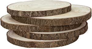 KARAVELLA Large Wood Slices for Centerpieces - 5 Pack Wood Centerpieces for Tables, 11 to 13 inches, Rustic Wedding Centerpiece, Natural Wood Slabs w/ & Minor Cracks & bark Loss