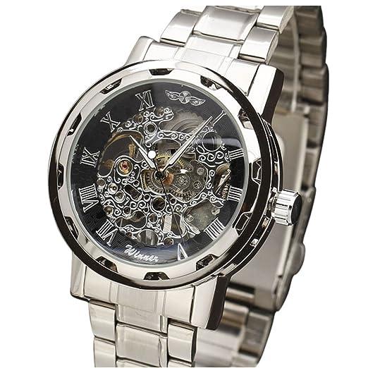 Winner azul manos correa de acero inoxidable retro classic diseño reloj para hombre relojes primera marca de moda de lujo Casual - Reloj: Amazon.es: Relojes