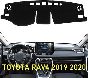 ABESTcar Dash Cover Mat for Toyota RAV4 2019 2020 Custom Fit Dashboard Cover Center Console Cover Sunshield Protector RAV 4 Accessories(Black Trim