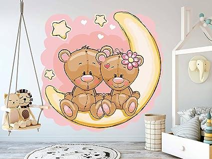 T1 StarStick Vinilo infantil Peque/ño Vinilo beb/é Osito en la luna blanca Rosa 100x55 cm