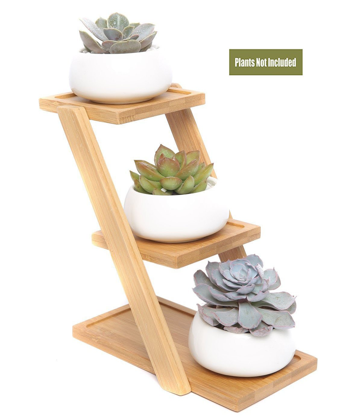 SINOVAL Plant Pot Small Round White Ceramic For Succulent/Cactus, Modern Garden Decorative, 3 Tier Bamboo Stand