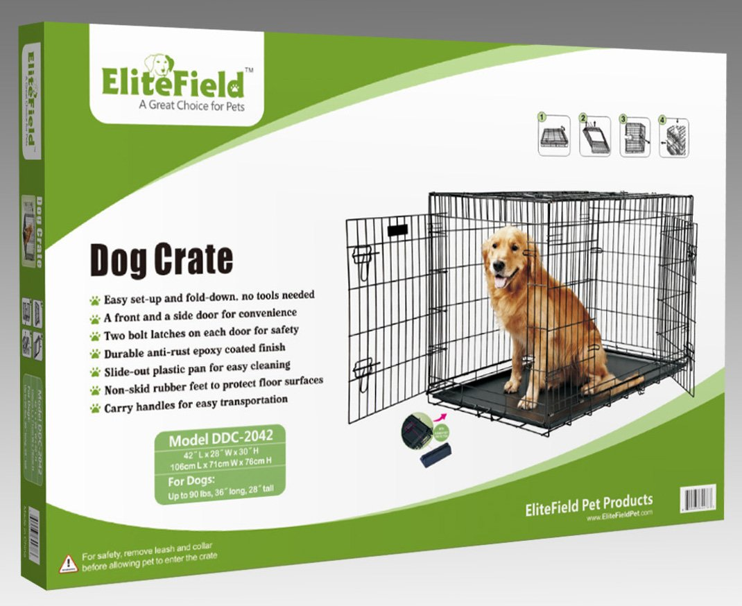 EliteField 2-Door Folding Dog Crate with Rubber FEET, 5 Sizes, 10 Models Available