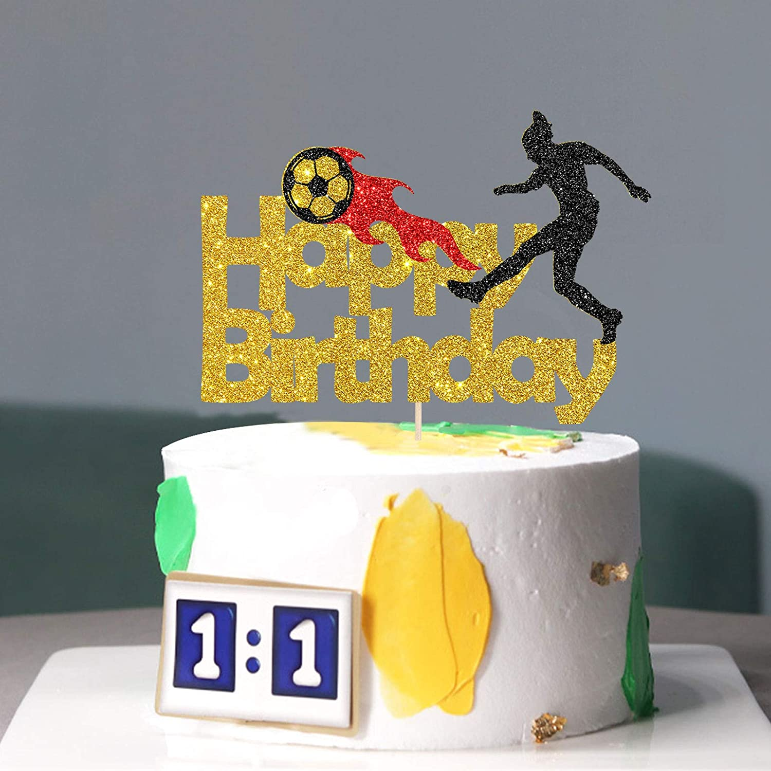 INNORU Gold Glitter Football Happy Birthday Cake Topper First Birthday Sport Theme Decor Boy and Girl Men Soccer Club Birthday Party Cake Decorations Supplies Birthday Party Photo booth Props