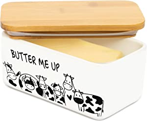 Lumicook porcelain butter dish with lid, Natural bamboo lid, seal included for airtight butter dish, butter holder easily fits 2 sticks of butter (Butter me up)
