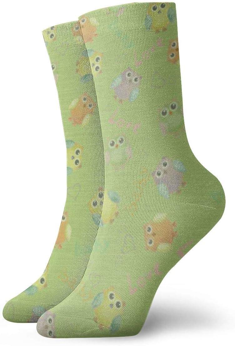 PengMin Baby Background Owl Green Casual Cotton Socks Unisex Sports Socks.
