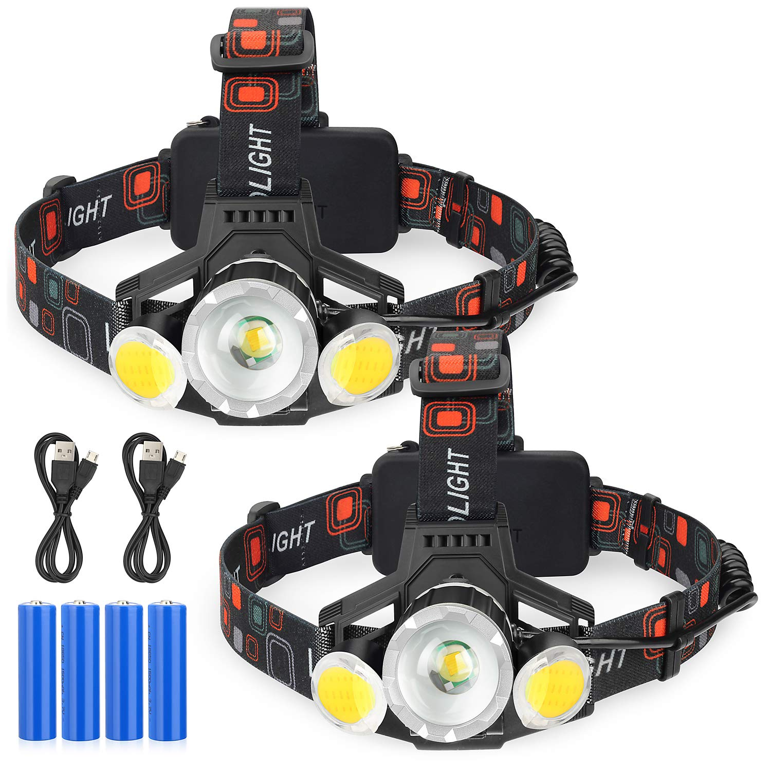 Rechargeable LED Headlamp, 2019 Newest 10000 Lumen Super Bright Zoomable Headlamp, 4 Modes Headlight, USB Rechargeable Flashlight, Waterproof Head Lamp Red Light for Camping Hiking Outdoors, Pack of 2 by SHINE HAI