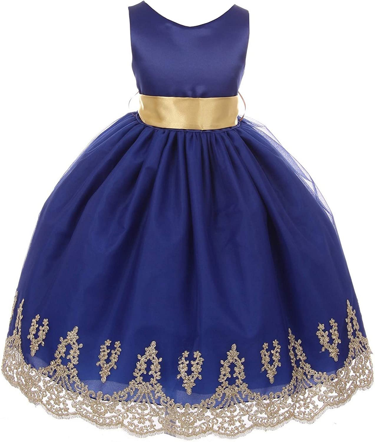 Chic Baby Little Girls Royal Blue Gold Lace Embroidered Flower Girl Dress  5-5