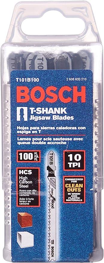 Bosch T101b100 Wood Plastic Clean Cut 4 X 10 Tpi T Shank Style Jigsaw Blades 100 Pack Jig Saw Blades Amazon Com