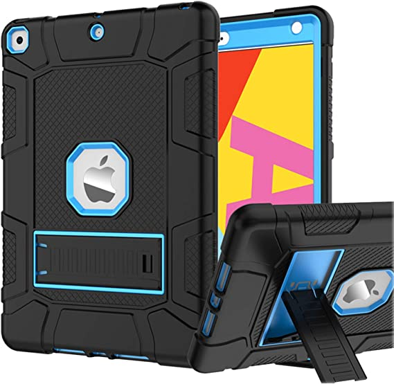 Rantice iPad 8th Generation Case, iPad 7th Generation Case, iPad 10.2 Case, Hybrid Shockproof Rugged Drop Protection Cover with Kickstandfor iPad 10.2 Inch 7th/8th Gen 2019/2020 Release (Black+Blue)