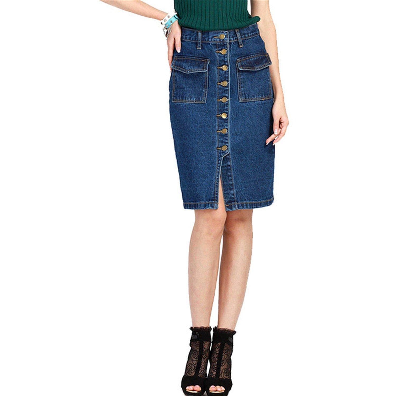 Nerefy Women Denim Button Pocket Plus Size Skirt Lady High Waist Split Midi Skirt
