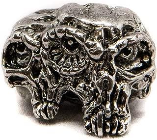 "product image for Schmuckatelli Co. Gemini Twins Antique Rhodium Finish Pewter Skull Bead 3/16"" Hole"