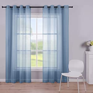 KOUFALL Dusty Blue Curtains 108 Inches Long for Living Room 2 Panel Sets Grommet Sheers for Patio Bedroom Outdoor 52x108 Inch Length