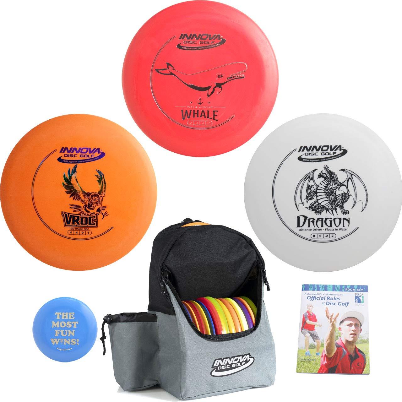 Innova Disc Golf Complete Gift Set Bundle - Discover Backpack Bag, Floating Driver, Mid-Range, Putter + Marker Mini Disc Rules (6 Items) (Red/Gray) by Innova Disc Golf