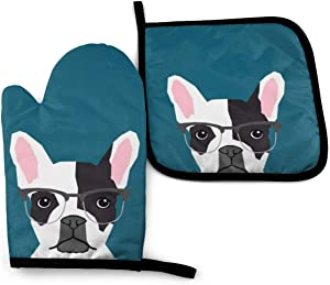 Oven Mitts and Pot Holders Set,Frenchie with Glasses French Bulldog Washable Heat Resistant Kitchen Non-Slip Grip Oven Gloves for Microwave BBQ Cooking Baking Grilling