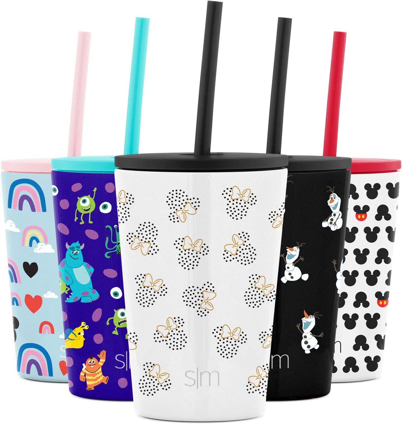 Simple Modern Disney Water Bottle for Kids Reusable Cup with Straw Sippy Lid Insulated Stainless Steel Thermos Tumbler for Toddlers Girls Boys, 12oz, Minnie Mouse Dots