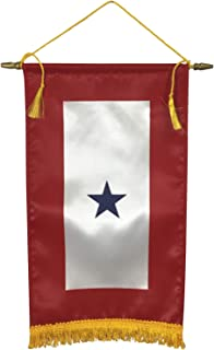 product image for Gettysburg Flag Works 8x14 1 Blue Star Satin Indoor Service Star Window Banner with Hanging Cord, Made in USA