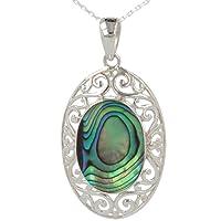 Aden's Jewels - Cadeau Bijoux cabochon-Pendentif - Nacre Abalone- Argent Massif-Ovale- Femme