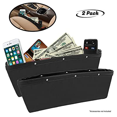 lebogner Black Gap Filler Premium PU Full Leather Console Pocket Organizer, Interior Accessories, Car Seat Side Drop Caddy Catcher, 2 Pack: Automotive