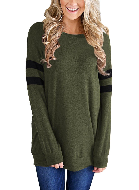 Miusolo Womens Casual Lightweight Color Block Long Sleeve Sweatshirt Tunic Tops