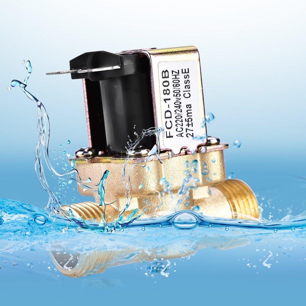 valvola elettrica dellacqua elettrovalvola a solenoide elettrica dottone normalmente chiusa per controllo delle acque Elettrovalvola a solenoide a 1//2 pollici di CA 220V NC